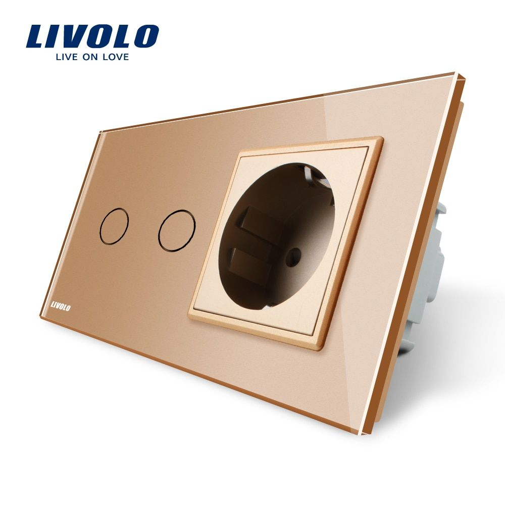 Livolo 16A EU standard Wall Power Socket, AC 220~250V,Golden Crystal Glass Panel,Touch Switch with Wall Outlet,C702-13/C7C1EU-13