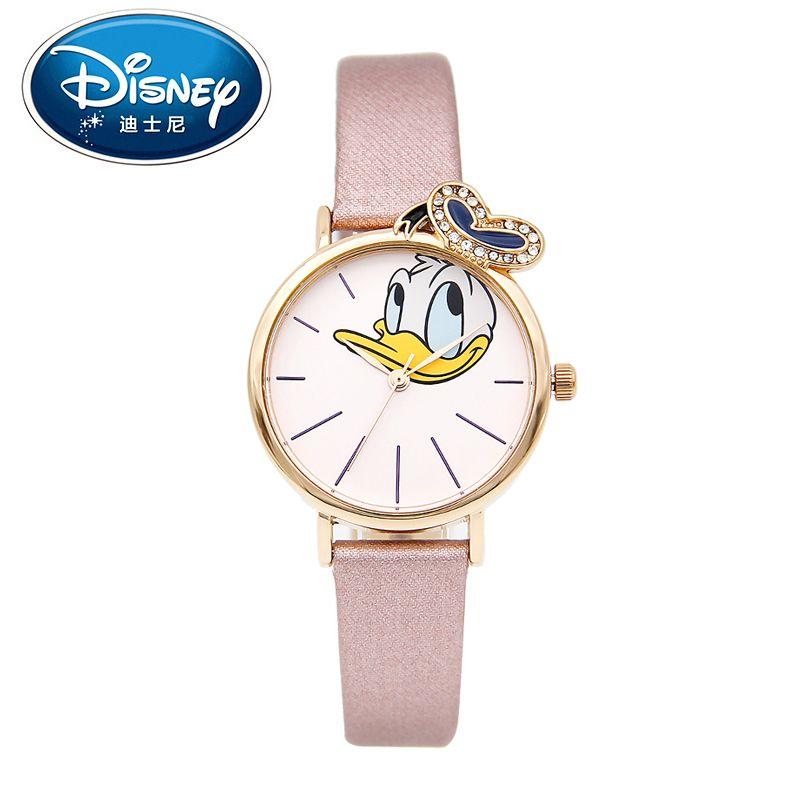 Disney Donald Duck Niños de Las Mujeres Reloj de Los Niños de La Manera Linda Fresca de Cuero Muchachos de Las Muchachas de Pulsera de Cuarzo Correa de Reloj Resistente Al Agua