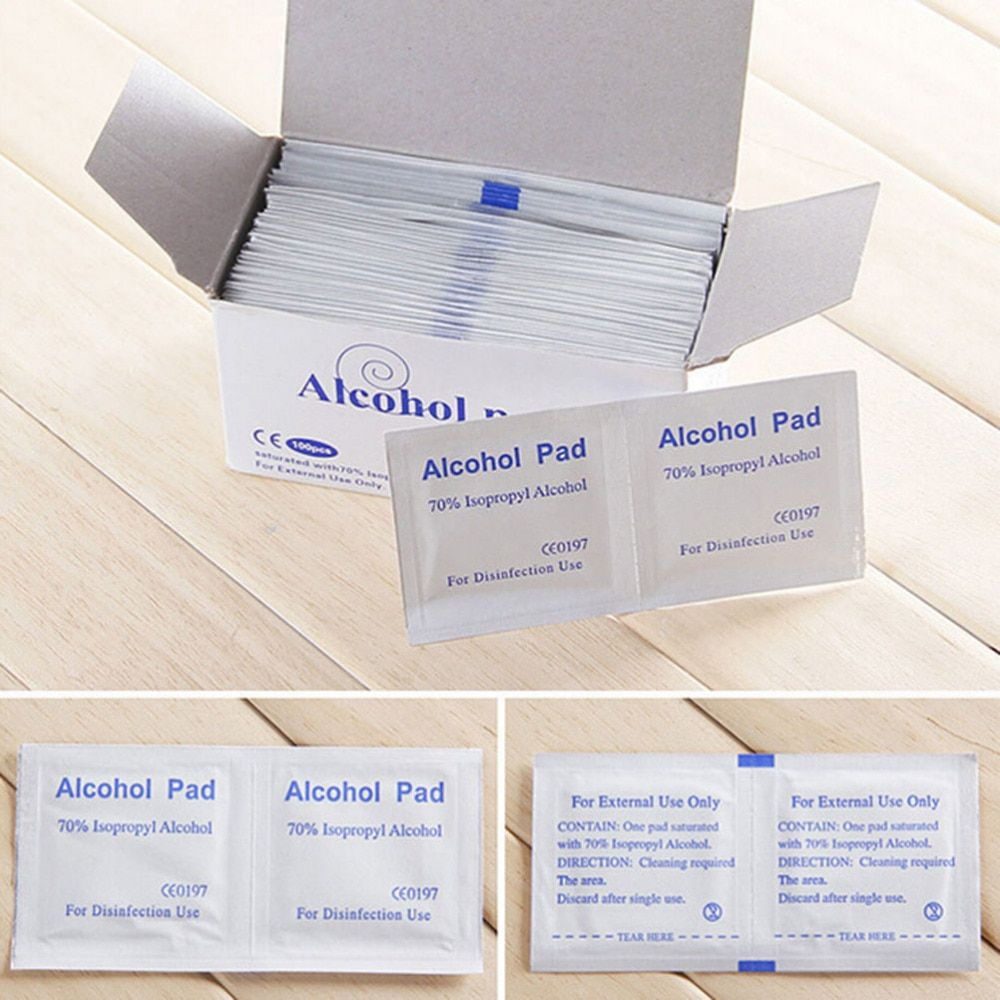 100pcs/Box Portable Wet Wipes Useful Alcohol Swabs Pads Wipes Skin Cleanser Sterilization 70% Isopropyl First Aid Home
