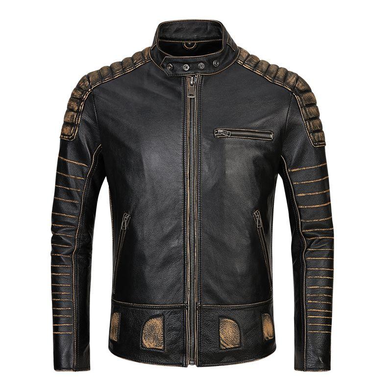 2019 Vintage Schwarz Männer Amerikanischen Motorrad Leder Jacke Plus Größe 5XL Echtem Rinds Frühling Slim Fit Biker Mantel FREIES VERSCHIFFEN