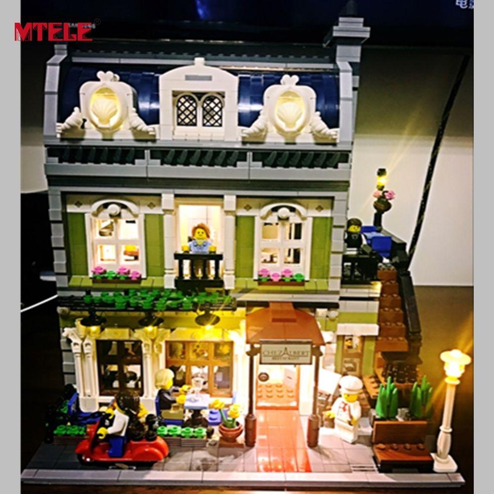 MTELE Brand LED Light Up Kit Toy For Creator Expert <font><b>City</b></font> Street Parisian Restaurant Compatile with Lego 10243