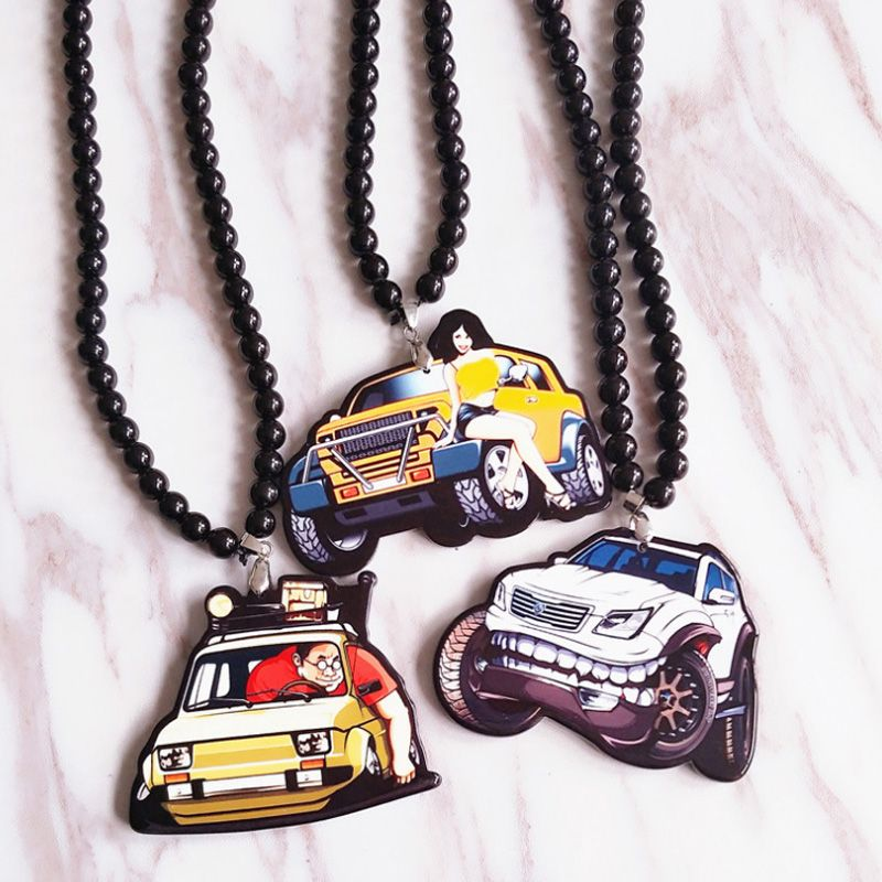 Big Man Guy Driving Yellow Texi Car Model Badge Double Sides Printed Pendant Rearview Mirror JDM Ornament Automobile Accessory