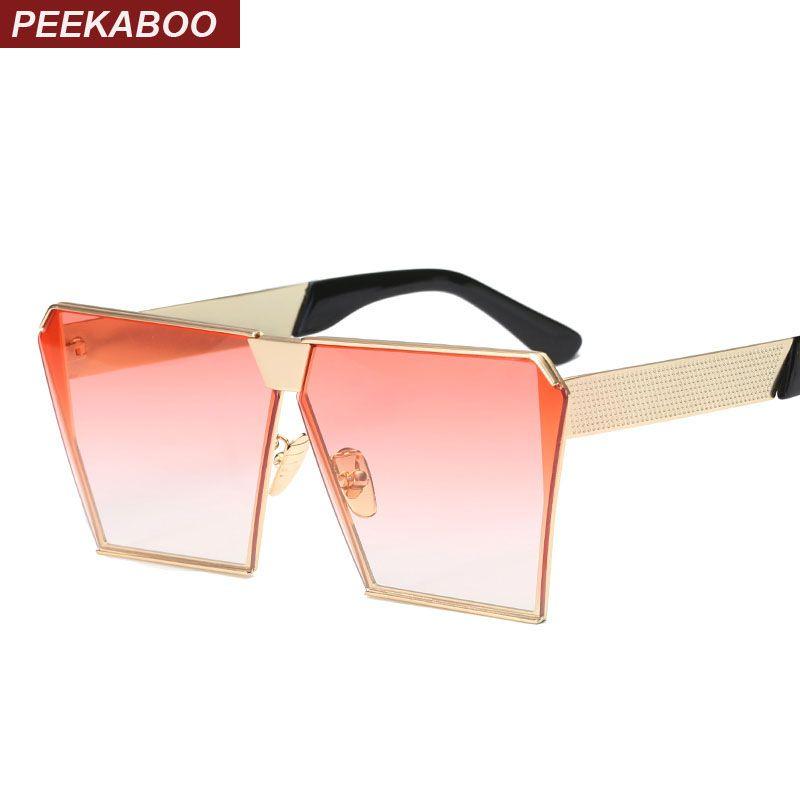 Coucou Mode de luxe carré lunettes de soleil femmes marque designer celebrity métal UNISEXE hommes surdimensionné lunettes de soleil miroir objectif Cool