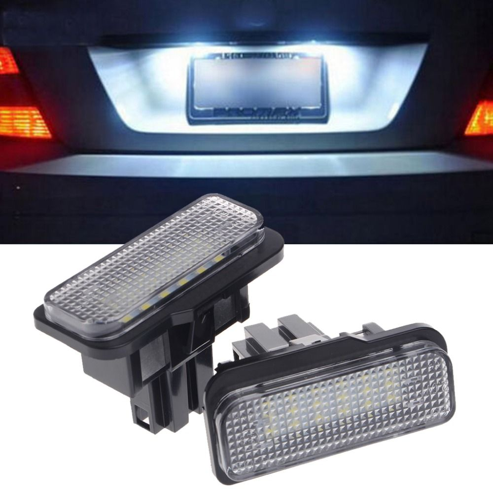New 2 Pcs 18 LED SMD No Error License Plate Light For Benz W203 W211 W219 R171 Car Light Source