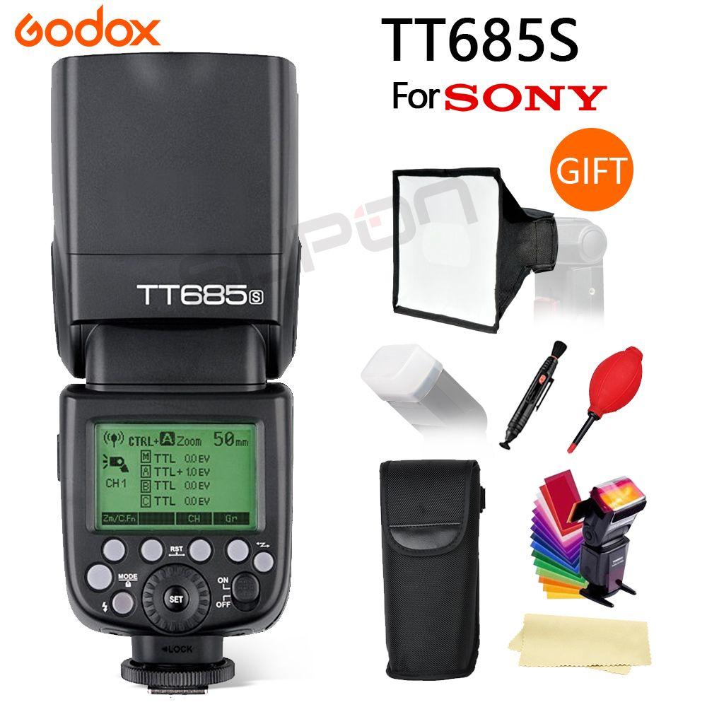 Godox TT685 TT685S 2,4G HSS 1/8000 s TTL Kamera Flash + 15*17 cm softbox + geschenk für Sony A77II A7RII A7R A99 A58 A6500 A6000 A6300
