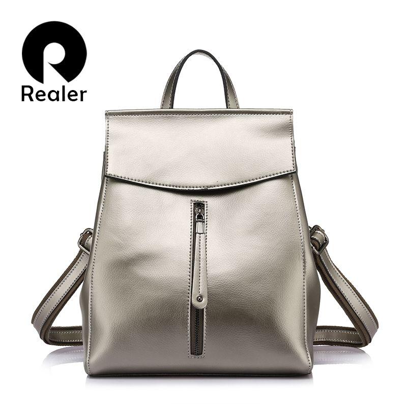 REALER brand women backpack high quality cow split leather backpacks ladies shoulder bags female school bag for teenage girl