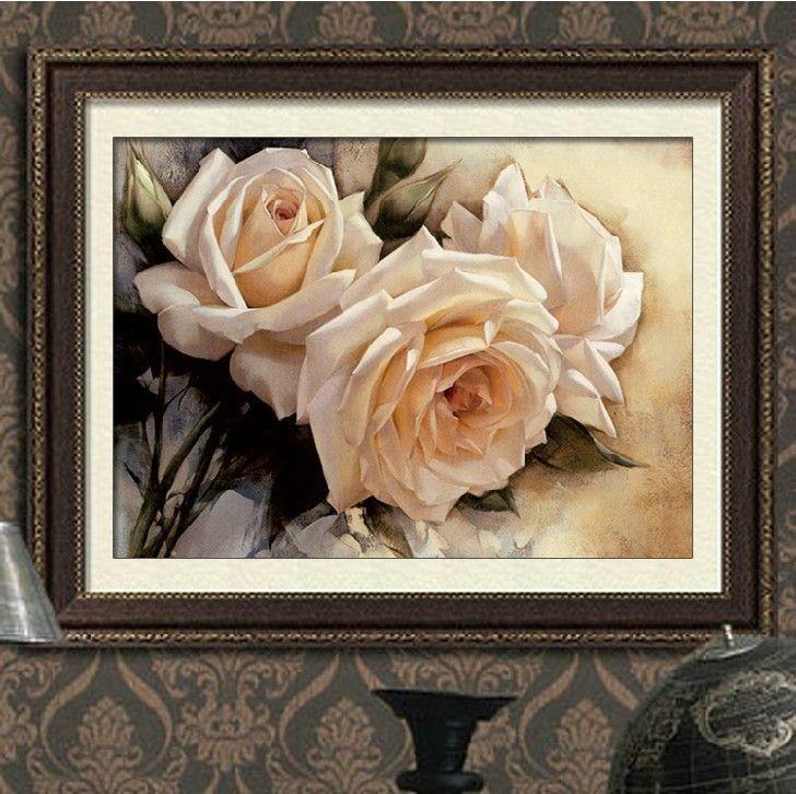 90*60 cm Couture BRICOLAGE point de Croix, Ensemble Pour La Broderie kit, Pur blanc Rose Fleur motif Croix-point de hôtel décoration peinture