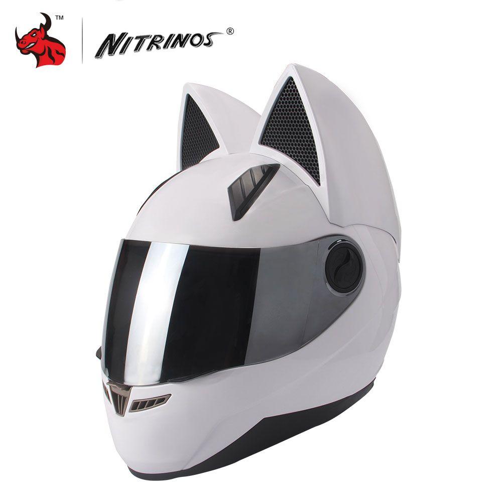 NITRINOS Moto Casque Hommes Femmes Personnalité Chat Casque Capacete De Moto Blanc Plein Visage Casques De Course M/L/XL/XXL