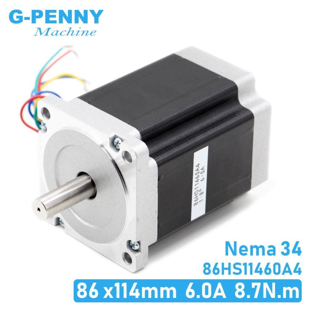 NEMA 34 CNC schrittmotor 86X114mm 8,7 N. m 6A D14mm Nema34 stepping motor 1240Oz-in für CNC gravur maschine hohe drehmoment!