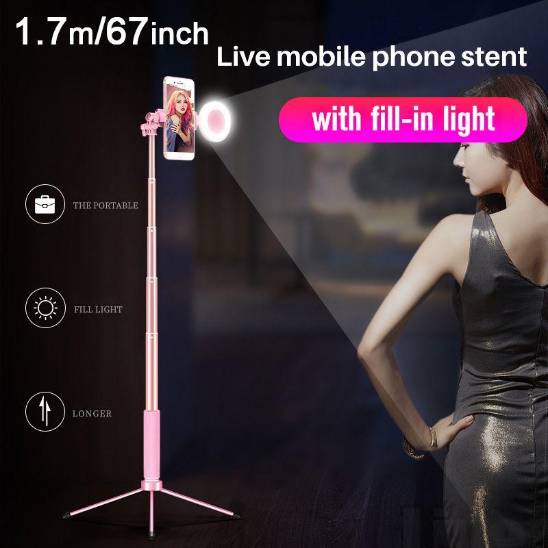 170 cm 67in Bluetooth Selfie Stick Stativ mit Ring Licht Selfie Schönheit Porträt Füllen Beleuchtung für iPhone XS 7 plus huawei P20 Pro