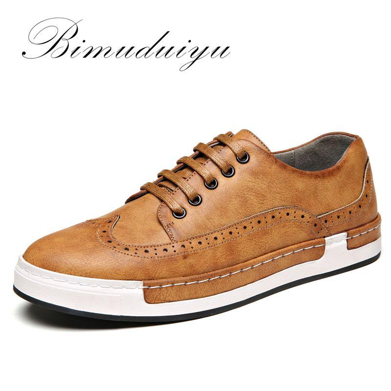 Bimuduiyuluxury marca cuatro estaciones limpie color pu cuero Bullock hombres Zapatos moda británica retro Encaje zapatilla plana Zapatos