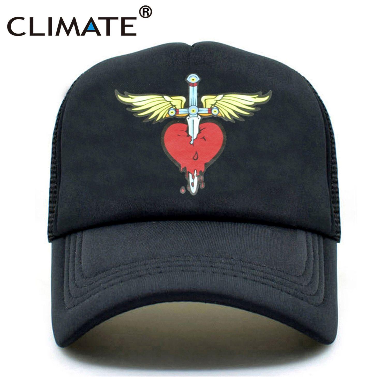 CLIMATE Men Women Bon Jovi Summer Trucker Cap Rock Band Fans Cap Cool Blood Heart Black Music Caps Summer Mesh Trucker Hat Caps
