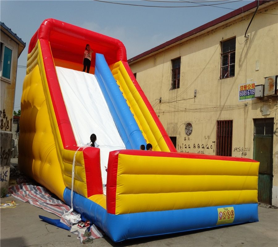 PVC tarpaulin colorful inflatable slide kids plastic slide purple large trampoline slide free blower china factory