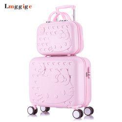 Hello Kitty equipaje de cabina y maleta set, mujeres niño regalo, historieta encantadora viaje caso, universal Ruedas carro