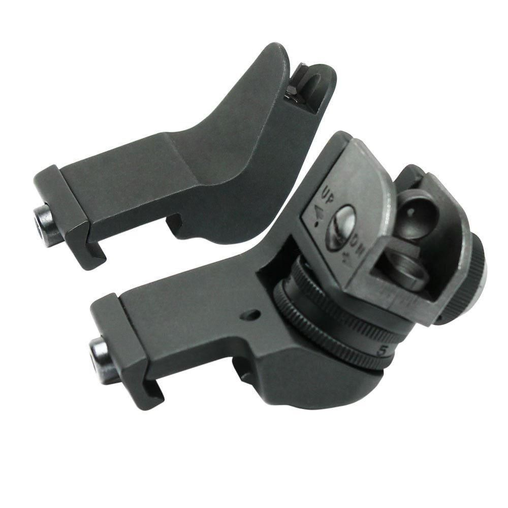 45 <font><b>Degree</b></font> Adjustable Tactical Hunting Flip Up Front Rear Rapid Transition Backup Iron Sight Set