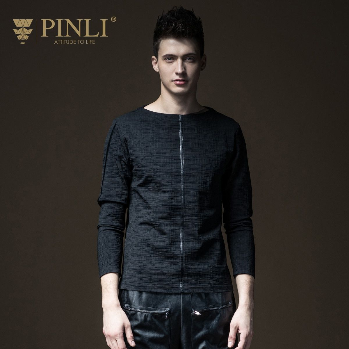 Pinli Rushed Fashion Full Solid O-neck Bamboo Fiber Products 2017 Autumn New Men's T-shirt, Long Sleeved Clothes B173211252