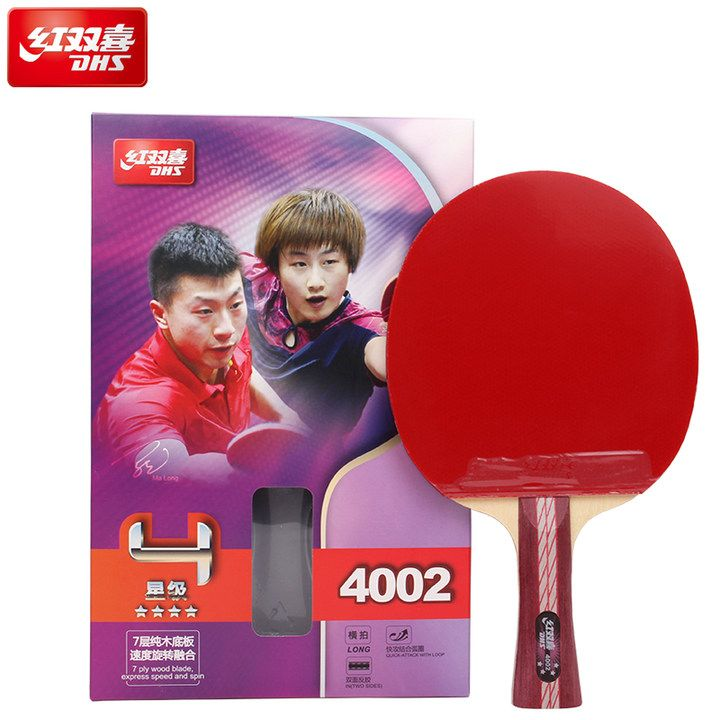 DHS 4-Star Table Tennis Racket (4002, 4006) with Rubber (Hurricane 3, pips-in) Set Ping Pong Bat Pimples In