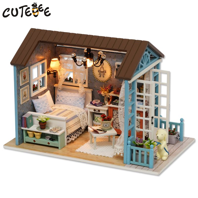 CUTEBEE Doll House Miniature DIY Dollhouse With Furnitures Wooden House Toys For <font><b>Children</b></font> Birthday Gift Z007
