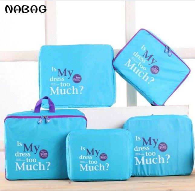 NABAG 5 pièces/ensemble sac de rangement de voyage vêtements cosmétique ranger organisateur pochette bagages valise sac à main maison placard diviseur conteneur