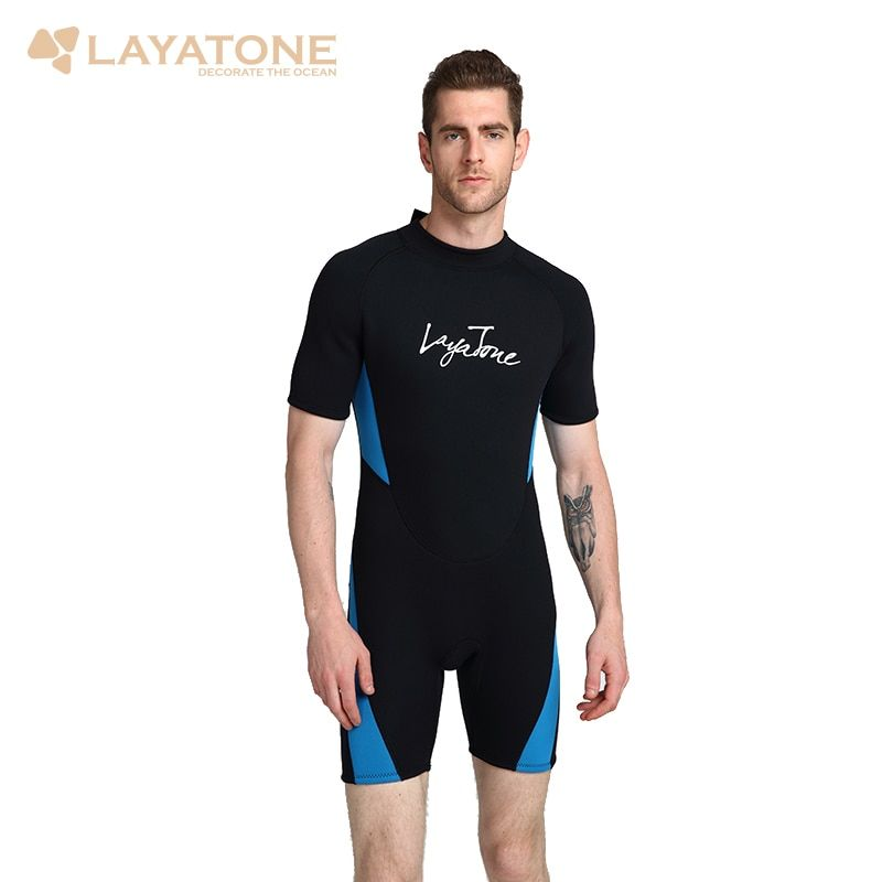Cheap 3mm neoprene shorty men triatlon wetsuit swimsuit Plus Size mens black swimwear swimming surfing suit rash guard B1619