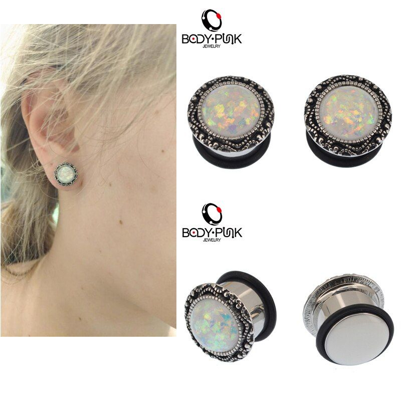 KÖRPER PUNK Weiß Opal Vintage Ohrstöpsel Piercing Körperschmuck Edelstahl Einzel Flared Sommer Gauge Flesh Tunnel 6-16mm