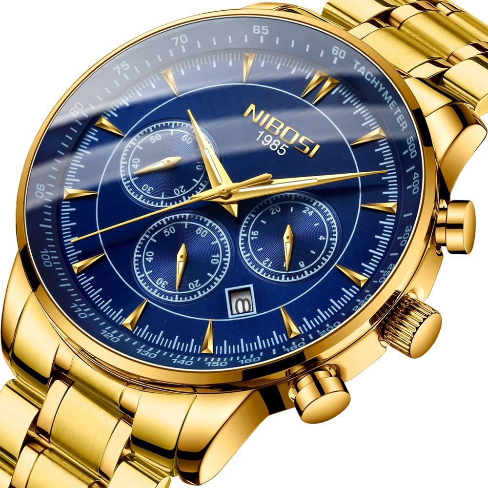 NIBOSI Watch Men Waterproof 30M Gold Blue Watches Business Fashion Sport Quartz Herren Uhren Date Male Clock Relogio Masculino
