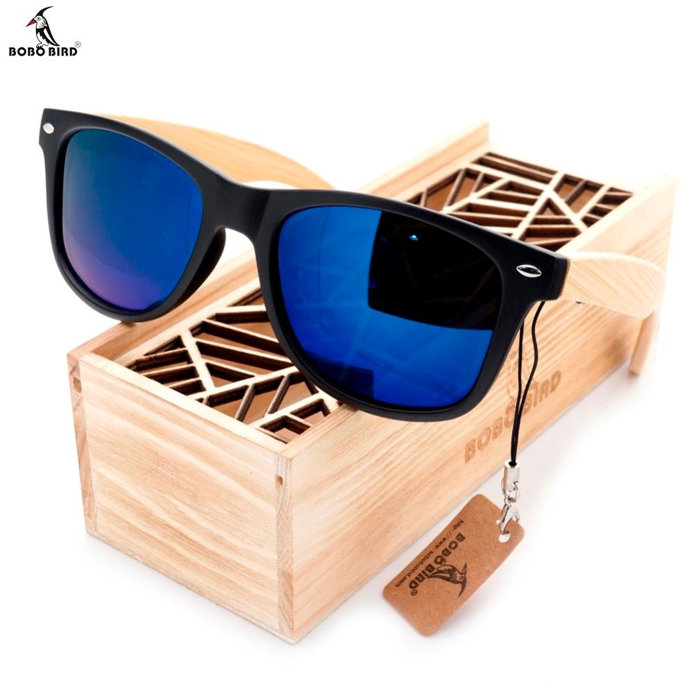 BOBO BIRD High Quality Vintage <font><b>Black</b></font> Square Sunglasses With Bamboo Legs Mirrored Polarized Summer Style Travel Eyewear Wood Box