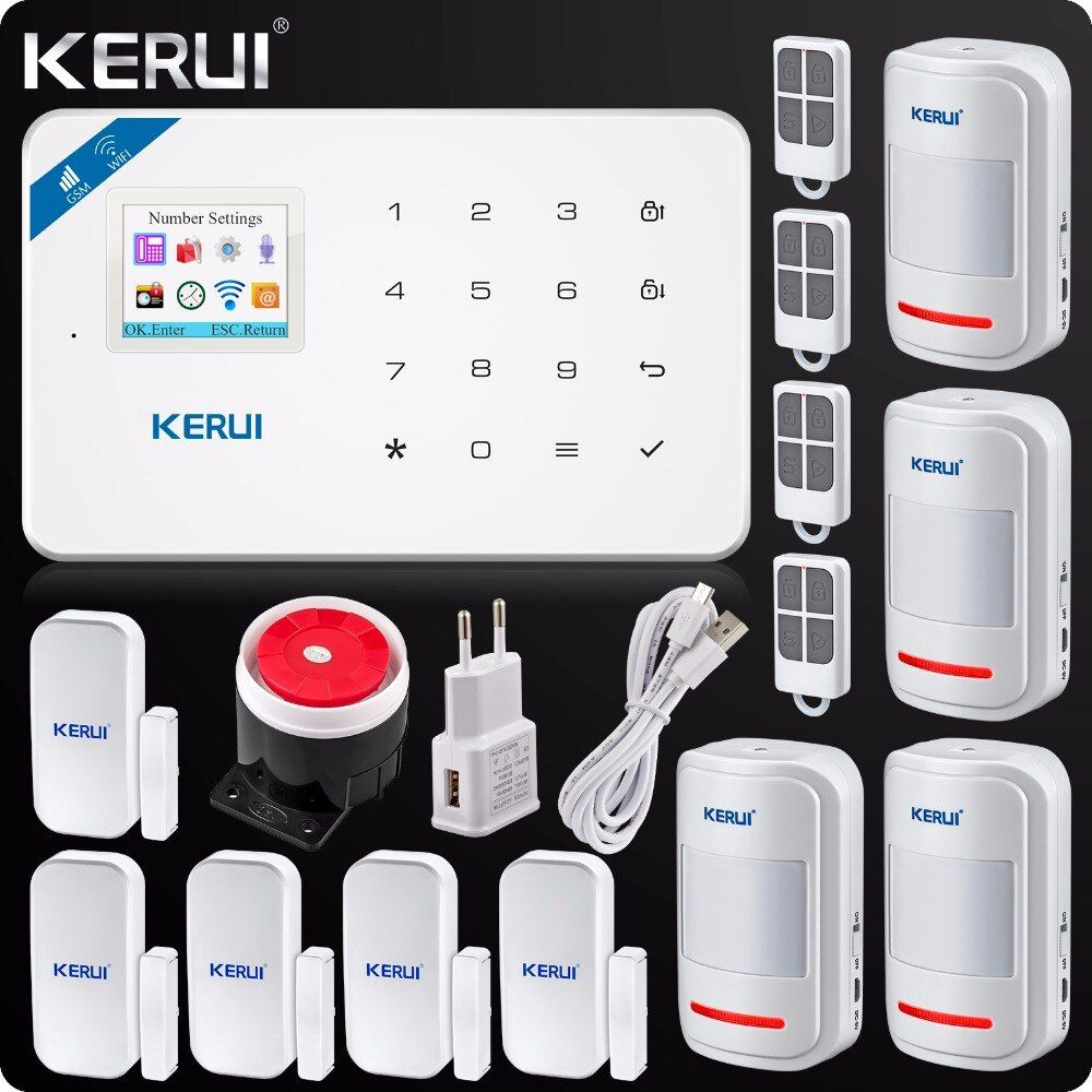 2018Kerui W18 Wireless Wifi GSM IOS/Android APP Control LCD GSM SMS Burglar Alarm System For Home Security