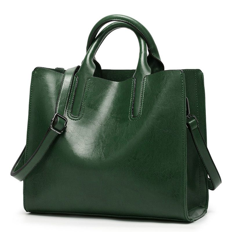 2018 New Fashion oil wax leather women's messenger bag casual tote brand leather green female shoulder bags women's handbag