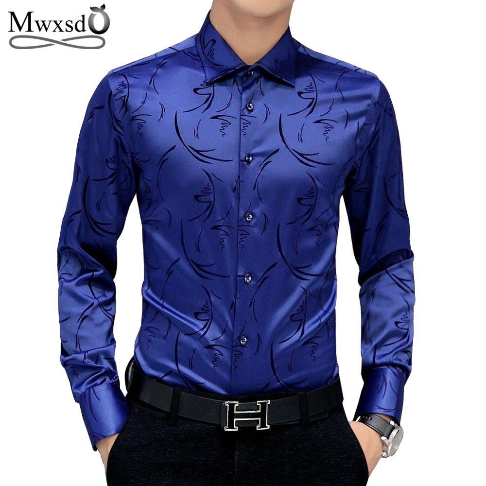 Mwxsd brand Men's printed Tuxedo Shirts Wedding Party Dress Long Sleeve Shirt Silk Tuxedo Mercerized shirt Plus Size 4xl 5XL