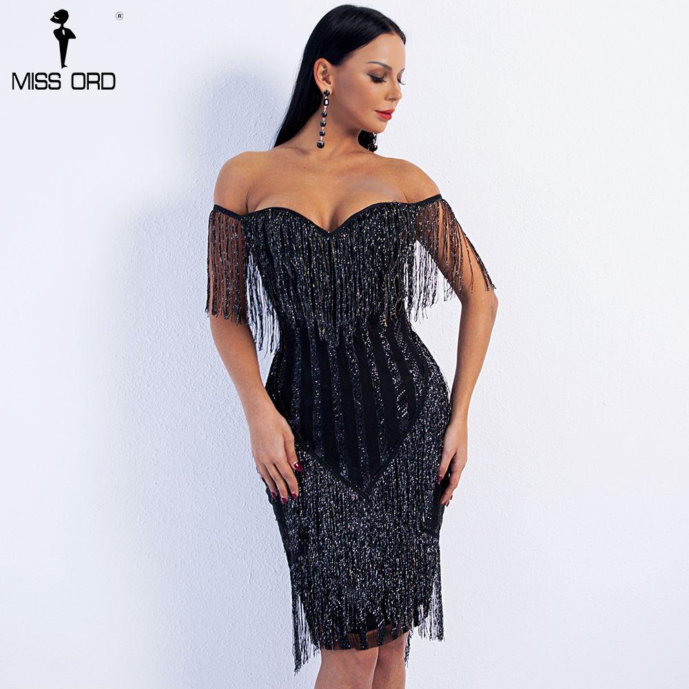 Missord 2018 Sexy Spring and Summer Off Shoulder Striped Glitter Elegant Tassel Party Dress FT8781-1