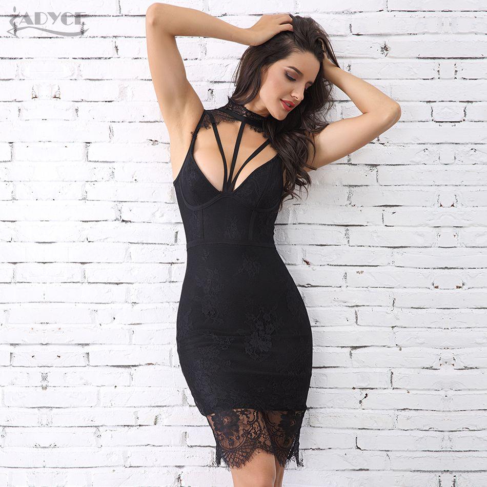 Adyce 2019 nouveau été femmes dentelle Bandage robe Vestido Sexy sans manches évider Midi dentelle réservoir Club célébrité fête Club robe
