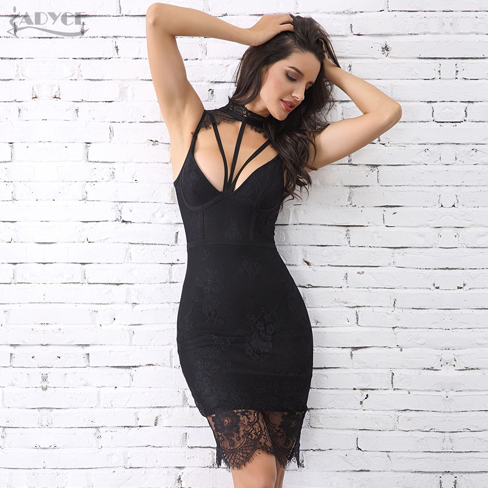 Adyce Summer Women Bandage Dress Vestidos Verano 2018 New Sexy Sleeveless Hollow Out Midi Lace Tank Club Celebrity Party Dresses