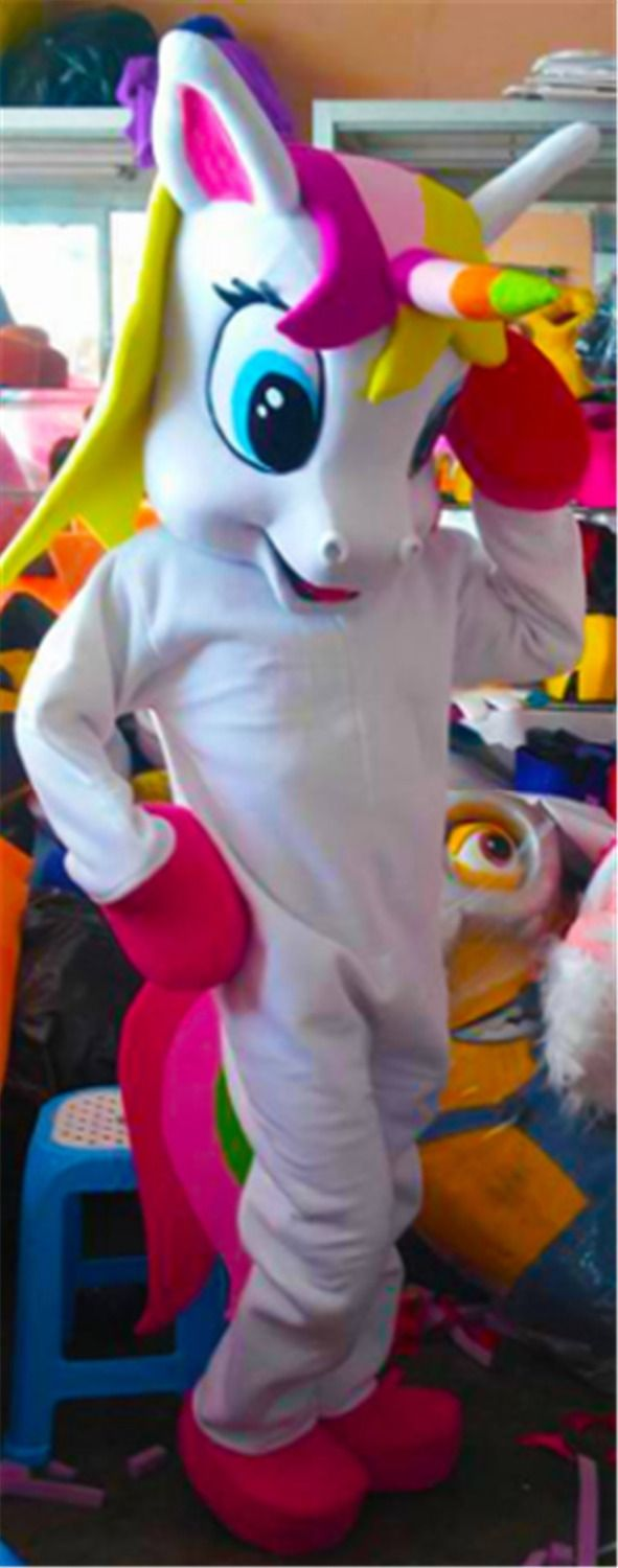 rainbow Pony magic Adult Mascot Costume for Halloween Purim Party Clothing Fancy Dress