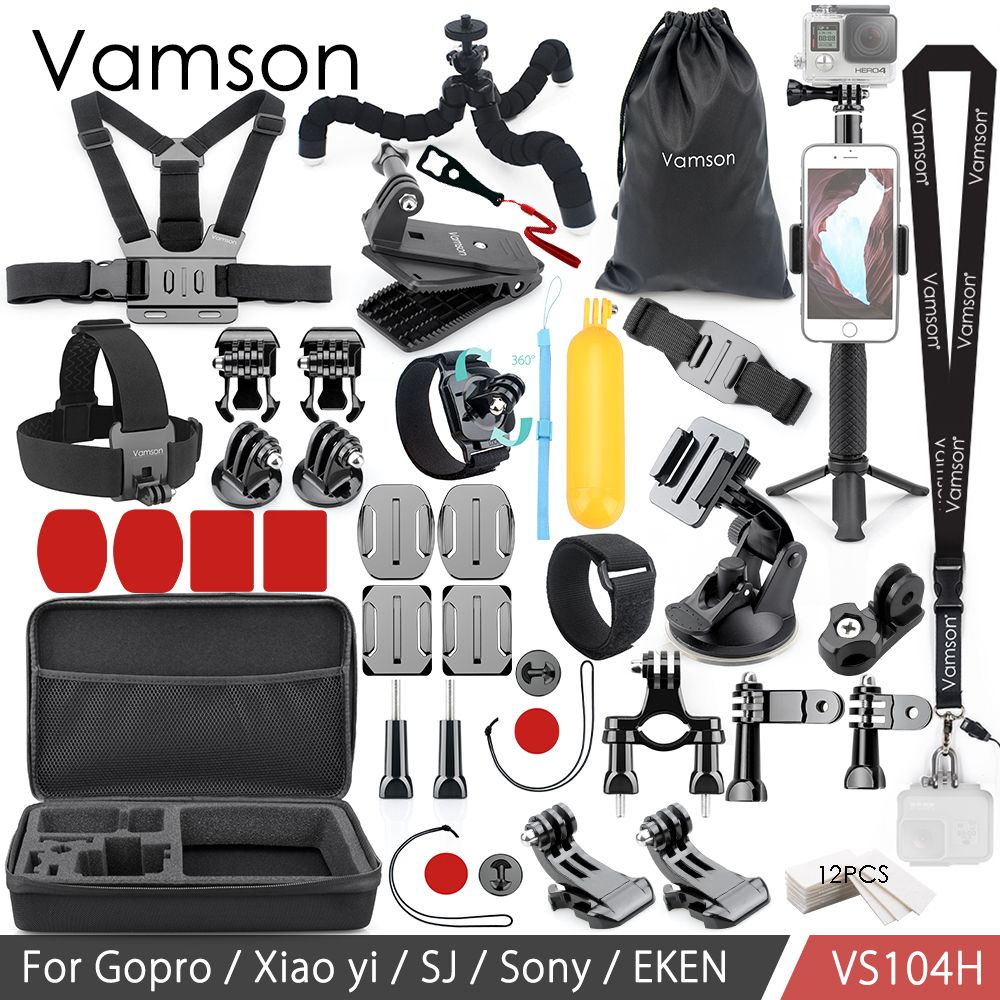 Vamson For Gopro Accessories Set for Eken H9R For Gopro Hero 7 6 5 4S Mount Selfie stick Tripod For Yi 4K for Mijia Kit VP104F