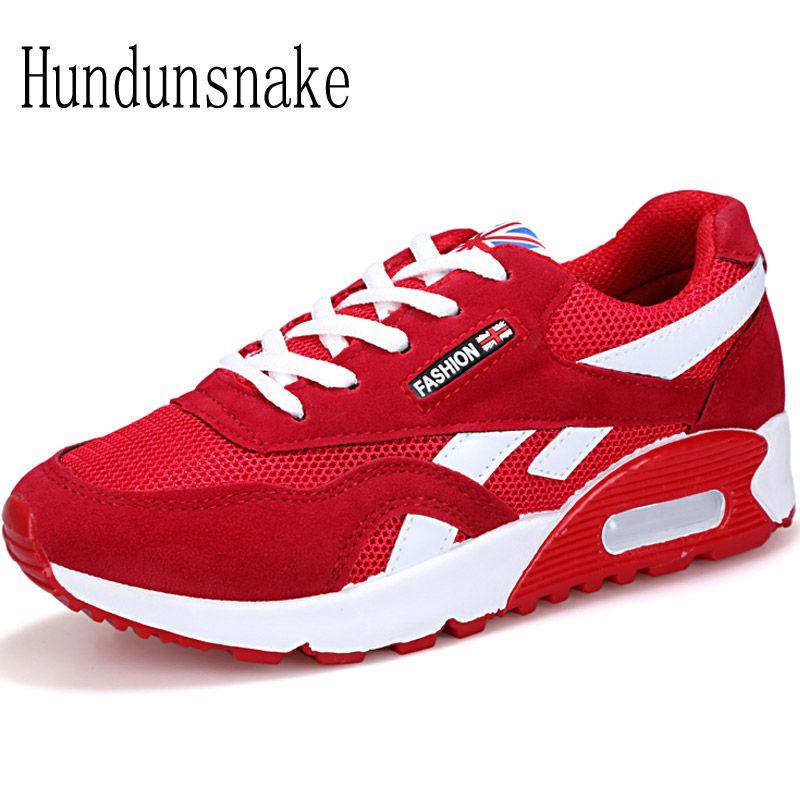Hundunsnake Air Cushioning Red Sneakers Women 2017 Running Shoes Women's Sports Shoes Ladies Runners Female Krasovki Gumshoes T7
