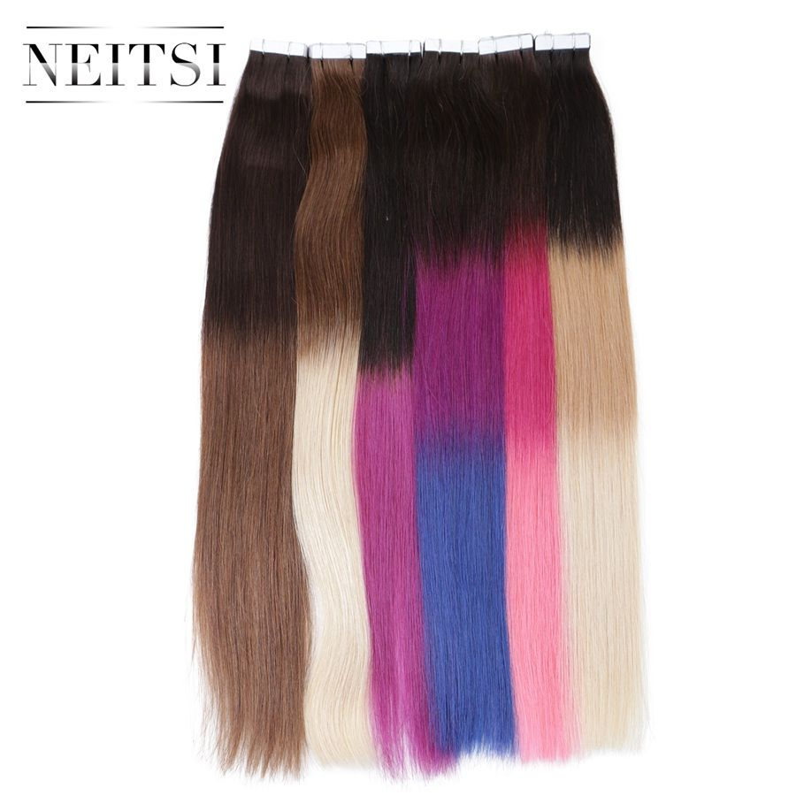 Neitsi Straight Ombre Skin Weft Human Hair Machine Made Remy Tape In Adhesive Hair Extensions 20