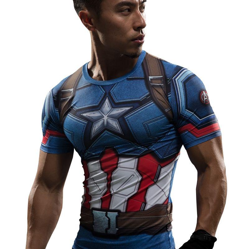 T-shirt Captain America Guerre Civile Tee 3D Imprimé T-shirts hommes Marvel Avengers 3 iron man Fitness Vêtements Mâle Crossfit Tops