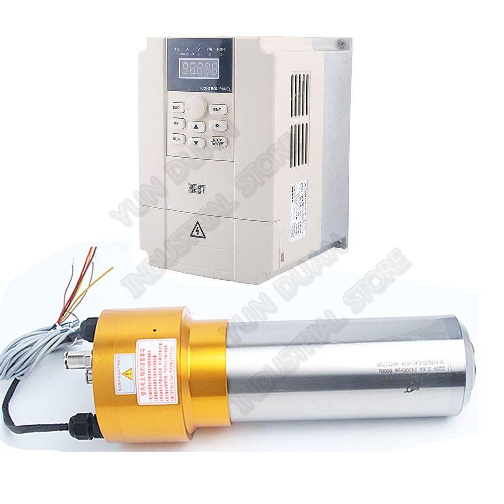 HanQi 1.5KW 2HP ATC Spindel ISO20 24000RPM AC220V 800HZ Automatische Werkzeug Ändern npn pnp Spindel motor & VFD set Für CNC Router