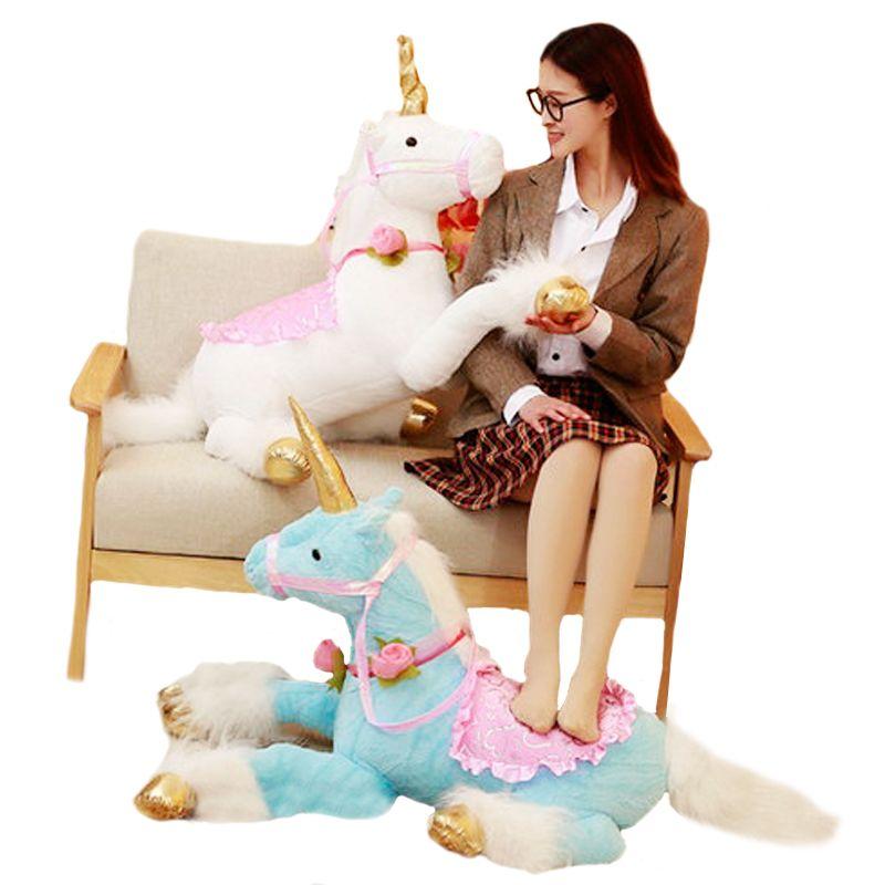 1pc 100cm Huge Cute Unicorn Horse Plush Toys Colorful Stuffed Animal Doll for Kids Children Creative Birthday Gift for Girls