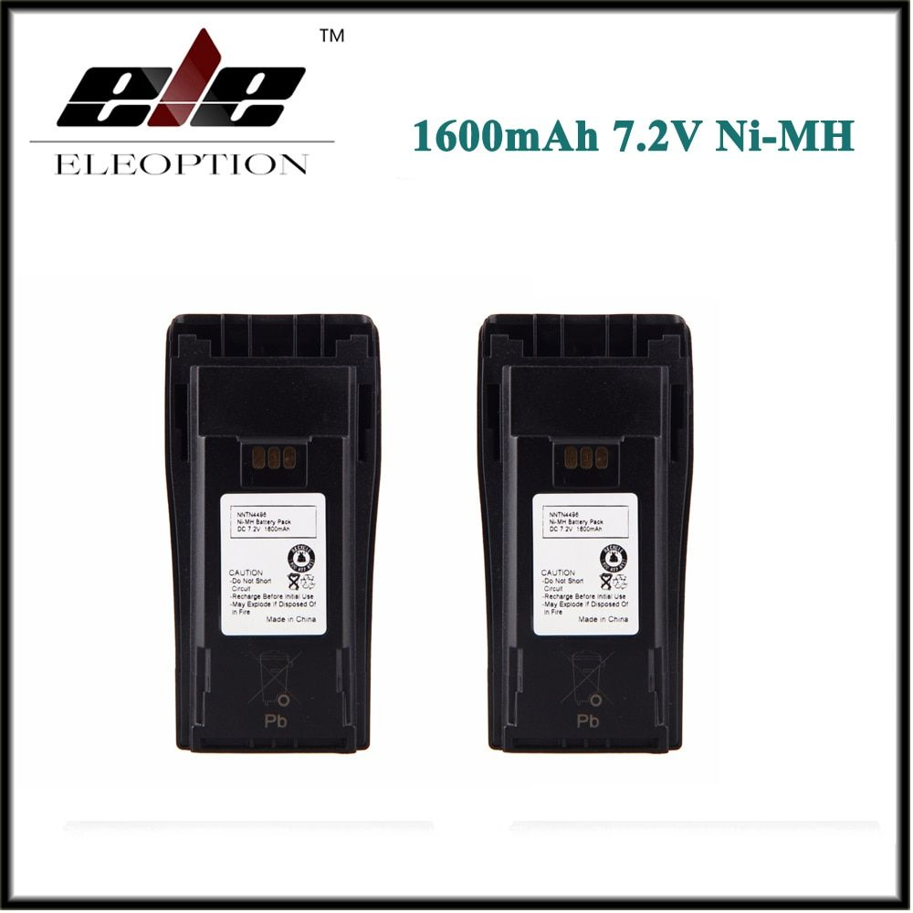 2 PCS Eleoption Ni-MH 1600mAh 7.2V NNTN4496 NNTN4851 Battery for MOTOROLA CP040 CP150 CP160 PR400