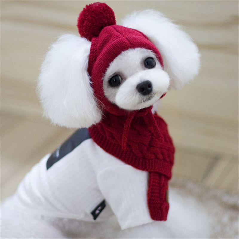 Товары для животных Товары для собак Зима и осень теплые рождественские Однотонная Одежда Аксессуары для собак Кепки и шарф