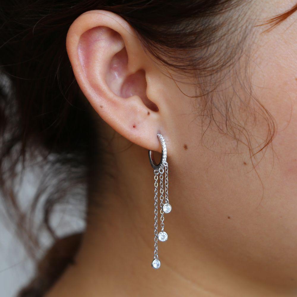 Magnifique femmes gland cz anneau d'oreille 925 sterling argent anit allergie mode bijoux pour femme 925 longue chaîne elelgance bouche crochet
