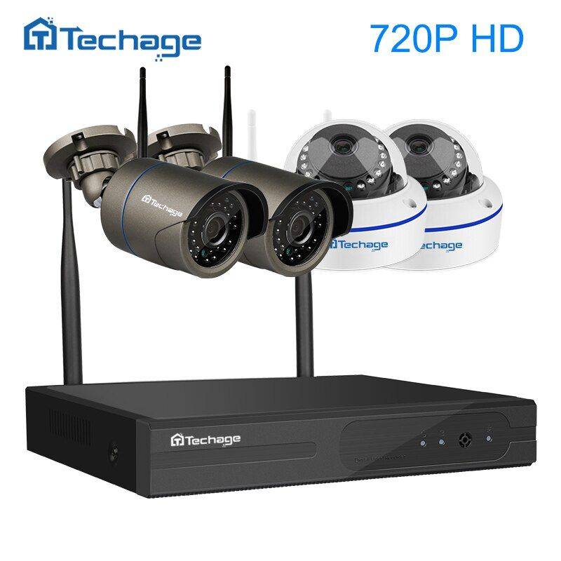 Techage 4CH 1080P Wireless NVR 720P Wifi Security CCTV System 1.0MP Dome Indoor Outdoor IP Camera P2P Surveillance Kit APP View