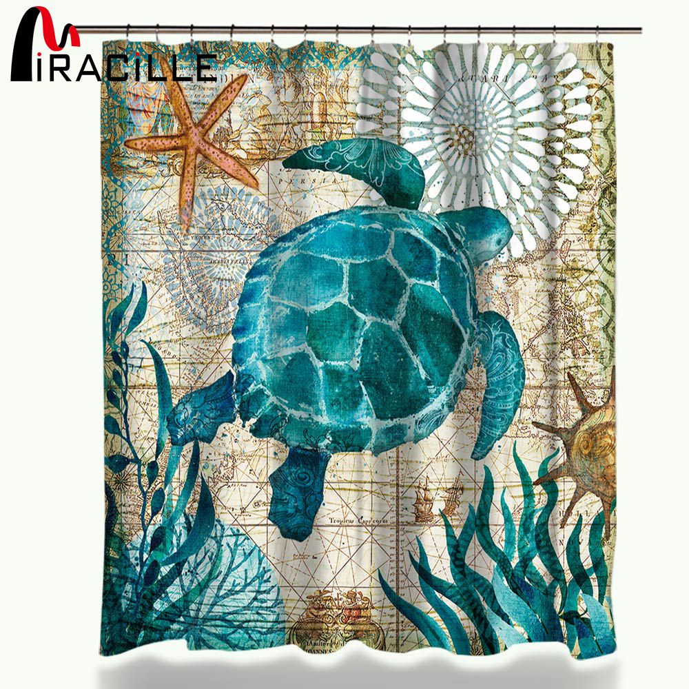 Miracille Sea Turtle Waterproof <font><b>Shower</b></font> Curtain Octopus Home Bathroom Curtains with 12 Hooks Polyester Fabric Bath Curtain