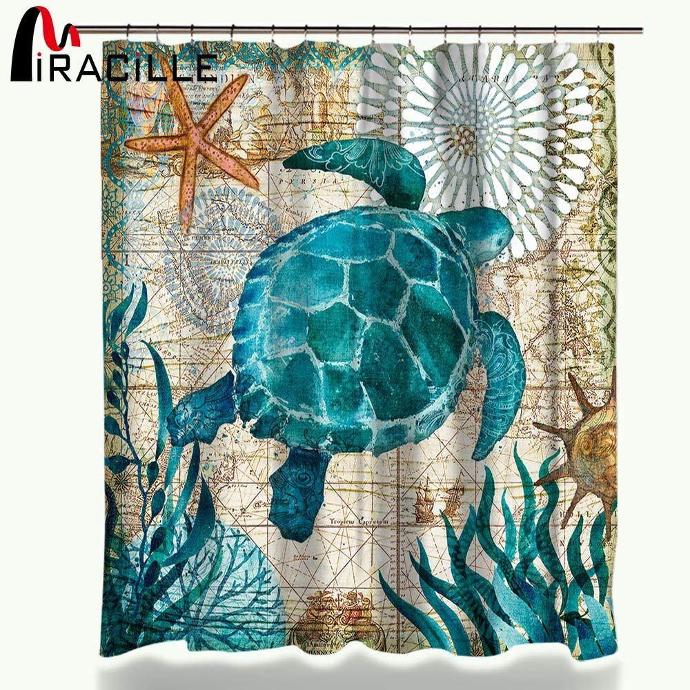 Miracille tortue rideau de douche imperméable rideaux de bain avec 12 crochets Polyester tissu rideau pour salle de bain Style marin