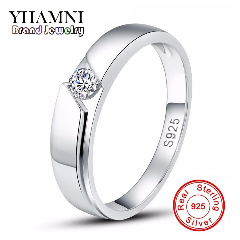 Sent Silver Certificate Real Solid Silver Ring Men 925 Silver Jewelry 0.5 Carat CZ Diamant Wedding Rings for Men and Women AR77