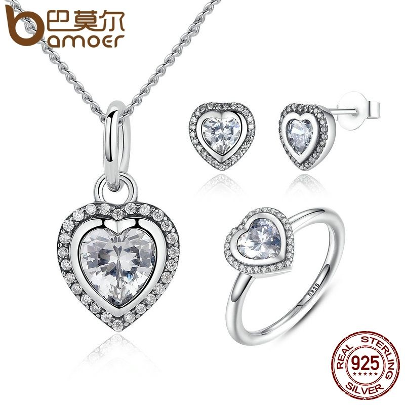 BAMOER 925 Sterling Silver Jewelry Set Sparkling Love Heart Jewelry Sets Wedding Engagement Jewelry Valentine's Day Gift ZHS009
