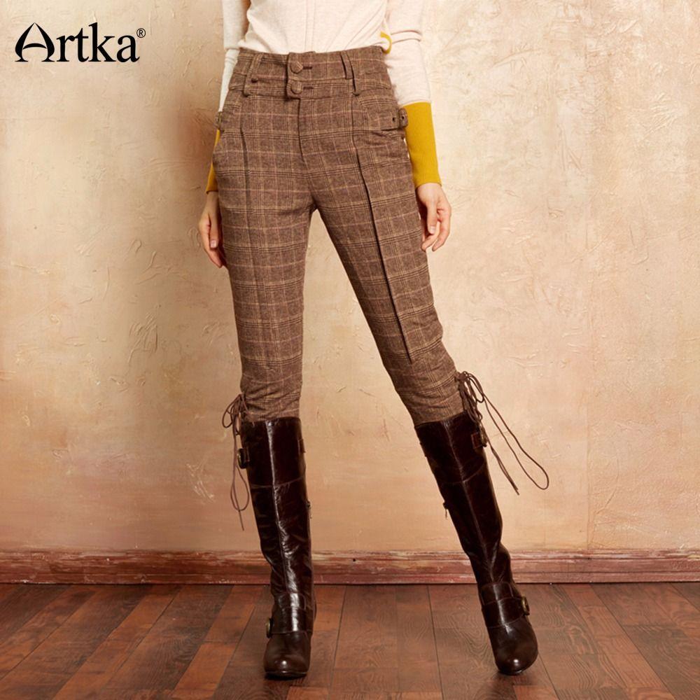 Artka Femmes de Classique Pantalon 2017 Automne & Hiver Veau-Longueur Pantalon Femmes Chevalier de Causalité Culotte Plaid Vintage Pantalon KA10270Q