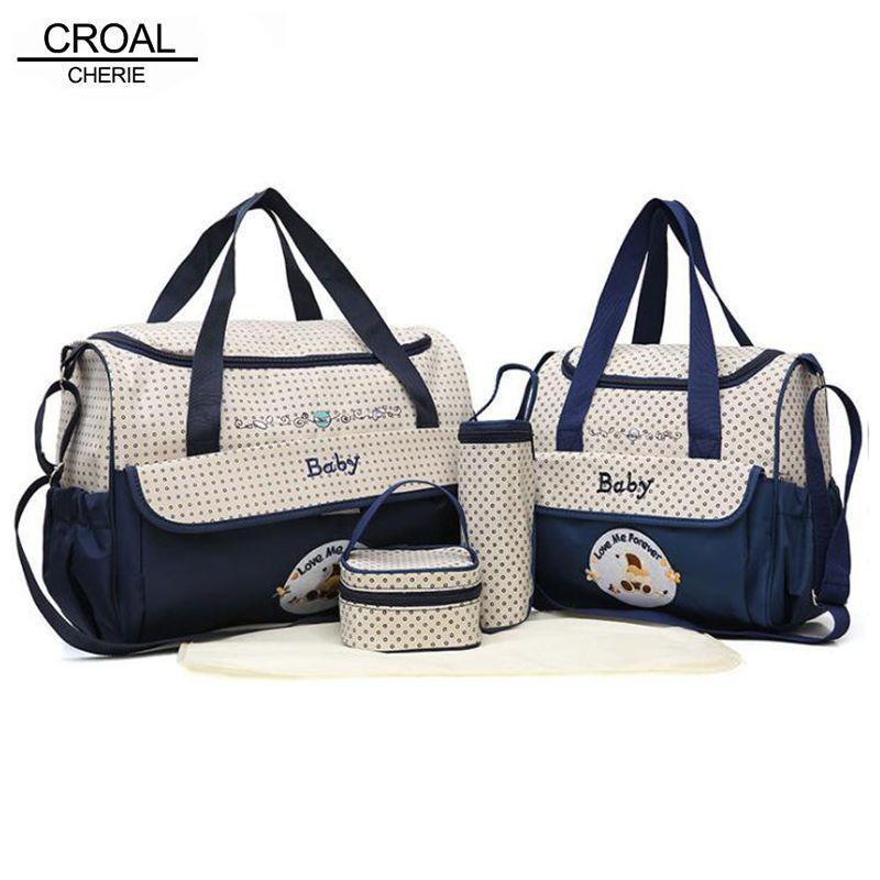 CROAL CHERIE 38*18*30cm 5pcs Baby Diaper Bag Sets changing Nappy Bag For Mom Multifunction Stroller Tote Bag Organizer